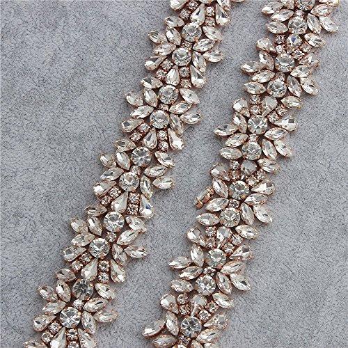 Rhinestone Applique Trim am Hof mit atemberaubenden Kristallen für Hochzeitskleid Gürtel oder Kleider (Rose Gold) (Atemberaubenden Kleid Kleider)