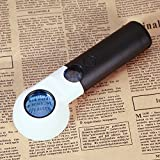Anself Mini 7 LED Magnifying Glass Reading Magnifier Handheld Portable Jewelry Loupe with Dual Glass 16X and 30X Magnification Power Lens