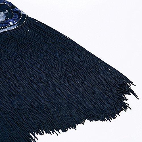 Metme Damen Vintage inspirierte 1920 V Hals Pailletten Art Deco Flapper Kleid Midi Kleid für Prom Marine