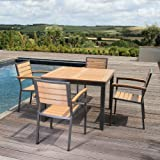 4 Seater Outdoors Garden Patio Dining Set with Large Square Table in Teak Asian