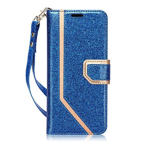 fyy Galaxy S8Fall, Samsung Galaxy S8Fall [RFID-blockierender Wallet] [Make-up Spiegel] Premium PU Leder Samsung Galaxy S8Wallet Tasche mit Kosmetikspiegel und Handschlaufe, X-Bling-Navy+Gold
