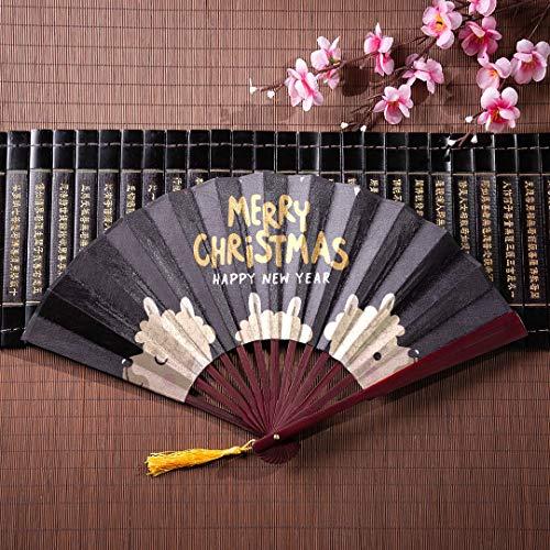 EIJODNL Fan Hand große Frohe Weihnachten Grußkarte süße Alpaka mit Bambus Rahmen Quaste Anhänger und Stoffbeutel Mädchen chinesische Fan antike Hand Fan gefaltet Fans Handheld -