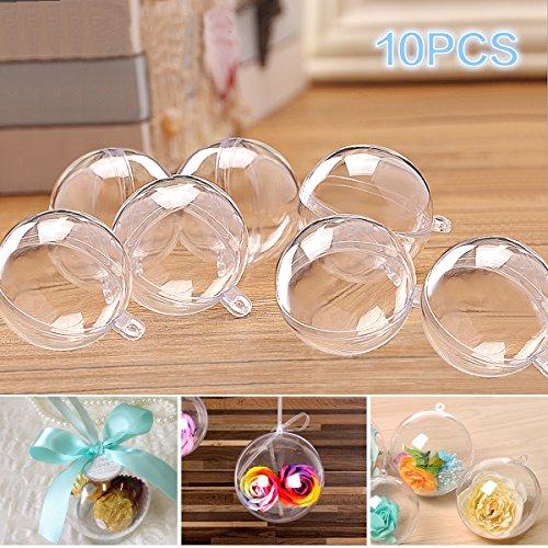 Fypo palline plastica natale trasparente per riempire palla vuota ornamento di plastica riutilizzabile fai da te 10 pezzi di 80mm con corda di iuta di 10m decorazione per feste, matrimoni, compleanni