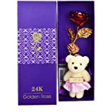 KharidoLive Valentine Gifts Artificial Rose with Teddy