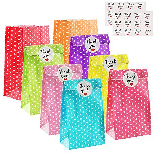 MIZOMOR 24pcs Papiertüten Klein Geschenktüten Kindergeburtstag Mitgebsel Tüten Bunt Candy Tüten Partytüten Set Geschenktüten mit Stickern zum Geburtstag für Geburtstag Hochzeit Oster