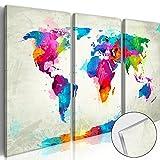 BD XXL murando - Quadro su acrilico vetro 120x80 cm – 3 Parti - Quadro – Stampa in qualita fotografica - Mappa del Mondo Contintente Mondo k-C-0015-k-e