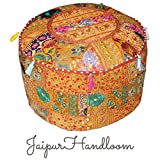 JaipurHandloom Orange Indian Traditional Home Decorative Ottoman Handmade and Patchwork Foot Stool Floor Cushion Cover, 58 X 33 Cm or 22 X14 inches