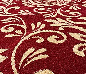 Damask Red Beige Modern Designer Extra Large Soft Rug by Modern Style Rugs