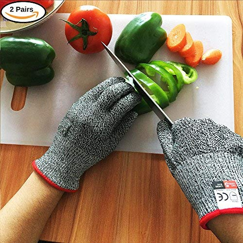 Babimax Schnittschutzhandschuhe Küchehandschuhe(2 Paar) Lebensmittelecht Schnittschutzklasse 5 für Küche Baustelle GartenbauSchlachthof Holzfabrik Männer Frauen (8)