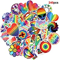 Howaf 240pcs Colour Graffiti Vinyl Decal Stickers Pack for Laptop Luggage Skateboard Bike Cars Scrapbooking Motorcycle Guitar Keyboard Helmet Window Cellphone Pencil Cases Door Waterproof Stickers