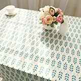DKEyinx Leaf Pattern Tablecloth Cotton Linen Dining Table Desk Home Furniture Decoration, Cotton, Linen 100 * 140cm