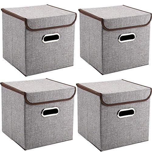 Griffe Aufbewahrungsboxen Mee'life 4-Pack Leinen Stoff Faltbare Korb Würfel Organizer Boxen Container Schubladen mit Deckel und Griffe für Büro Kinderzimmer Schlafzimmer Shelf Grey (Die Organisation Korb)