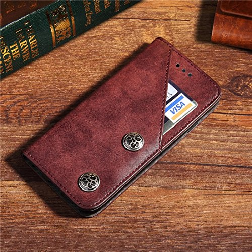 Für iPhone 7 Plus Bronze Textur Casual Style Horizontale Flip Leder Brieftasche Fall Deckung mit Halter & Card Slots by diebelleu ( Color : Black ) Wind red