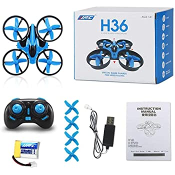 J - NEGOZIO Drone, Giocattolo Drone Aereo Telecomandato Aereo, JJRC H36 6-axis Gyro Headless Mode Mini RC Quadricottero RTF 2.4GHz (Blu)