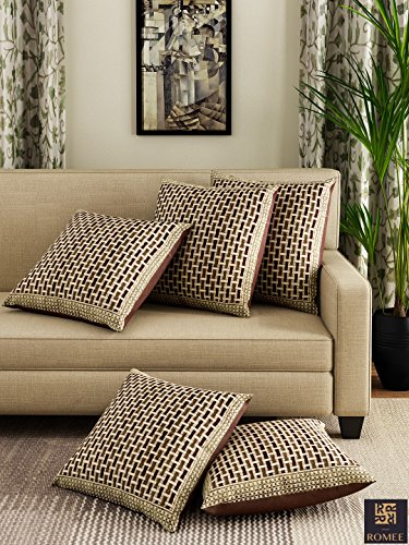 Romee Gold & Brown Chenille Geometric Designed Cushion Cover 16