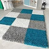 Hochflor Shaggy Teppich kariert in versch. Farben und Größen Langflor Teppiche für Wohnzimmer und Jugendzimmer. (80 x 150 cm, Türkis)