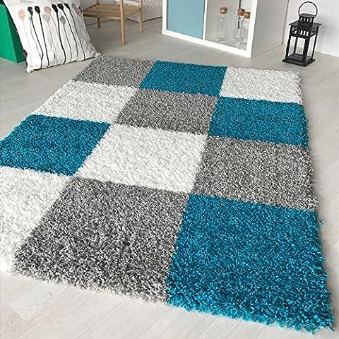 Hochflor Shaggy Teppich kariert in versch. Farben und Größen Langflor