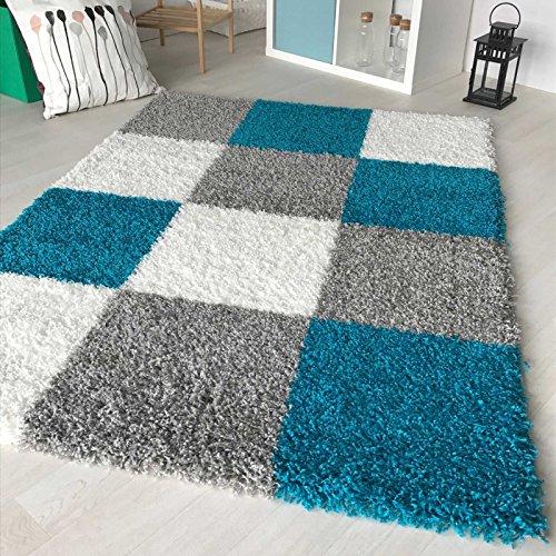 Hochflor Shaggy Teppich kariert in versch. Farben und Größen Langflor Teppiche für Wohnzimmer und...