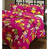 India Get Shopping Kid's Poly Cotton Dora Cartoon Print Single Bed Reversible AC Blanket/Dohar (Multicolour)