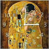 Wallario Glas-Uhr Echtglas Wanduhr Motivuhr • in Premium-Qualität • Größe: 30x30cm • Motiv: Der Kuss von Klimt