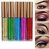 Rechoo Glitter Liquid Eyeliner Set 10PCS langlebig wasserdicht Sekt Eyeliner Lidschatten Pen - 10er Set (5PCS-2)