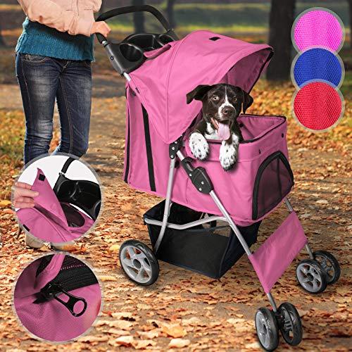 Leopet Hundebuggy für Hunde bis 15 kg | aus wasserdichtem Material, mit Klappfunktion und praktischer Einkaufstasche, Farbwahl | Pet Jogger, Tiere Wagen, Buggy Stroller (Pink)