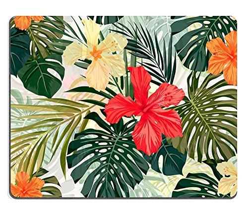 Maus Pad Naturkautschuk Mousepad Sommer Bunte Hawaiian Nahtlose Muster mit tropischen Pflanzen und Hibiskus Blumen Vector illustration (Maus-pad-hawaiian)