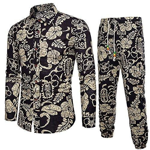 Geili Herren Trachten Set Zwei Stück Anzug Große Größen Gedruckt Slim Fit Knöpfen Umlegekragen Hemd Langarmshirt Freizeithemden + Hose Set für Strand Party