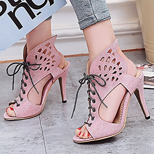 TAOFFEN Damen Klassischer Open Back Lace Cut Outs Party Sommer Absatzs Sandalen Pink
