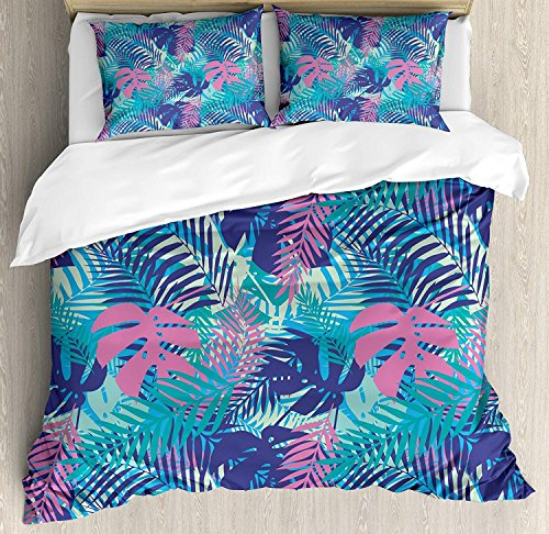Leaf 3-teiliges Bettwäscheset Bettbezugset, Digital Neon Vivid Coloured Island Oceanic Blumen und Blätter, 3-teiliges Tröster- / Qulit-Bezugsset mit 2 Kissenbezügen, Pink Türkis Dunkelblau und Lila