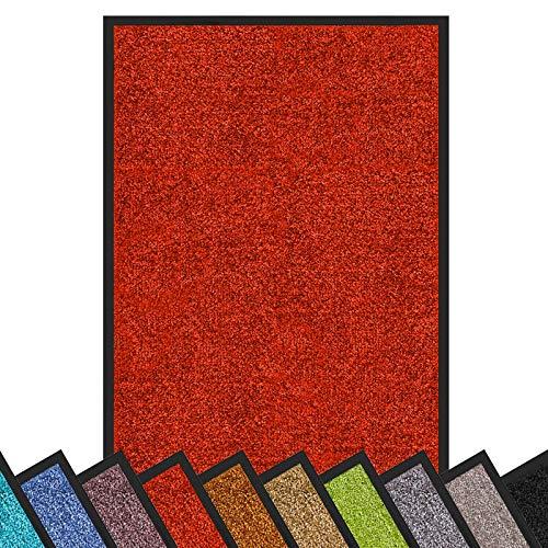 Schmutzfangmatte Rhine | schadstoffgeprüft | waschbare & extra leistungsstarke Fußmatte | Sauberlaufmatte mit Rutschfester Rückseite | Türmatte in vielen Größen & Farben (90x120 cm, Rot)