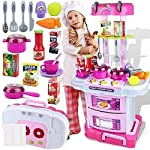 Techhark Little Chef Kids Kitchen Play Set with Light & Sound Cooking Kitchen Set Play Toy (3 in 1)