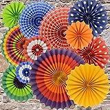 BeiLan 12 pezzi ventilatori variopinti della carta Fiesta hanno impostato decorazione decorativa della decorazione appesa per partito domestico doccia bambino carnevale cerimonia nuziale compleanno