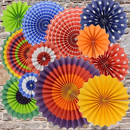 BeiLan 12 stücke Bunte Fiesta Papier Fans Set hängende Dekoration Dekorative Dekor für Geburtstag, Hochzeit, Karneval-Babyparty-Zuhause-Party (Dekor Papier-fan)
