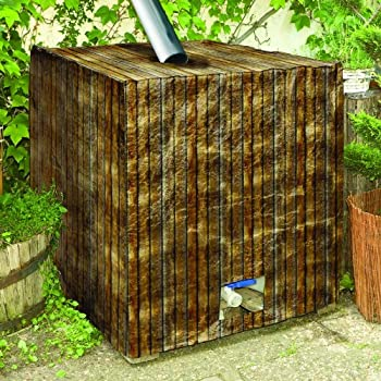regenwassertank folie cover haube 1000l holzoptik ibc container garten. Black Bedroom Furniture Sets. Home Design Ideas