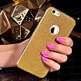 iSAVE Sparkling Bling Glitter Silicon Back Cover Case for iPhone 5/5s (Golden)