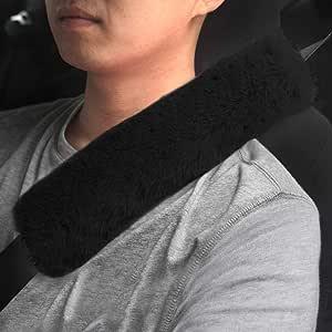 Gampro Gurtpolster Auto Im Zweierpack Faux Rex Rabbit Fur Soft Comfortable Polsterung Für Sitzgurt Im Auto Für Erwachsene Und Kinder Geeignet Für Autositzgurt Rucksack Umhängetasche Schwarz Auto