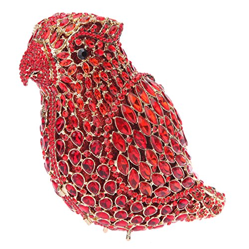 Bonjanvye Crystal Parrot Clutch Purses for Women Evening Bag Red