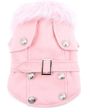 Cappotto per cane o gatto, in lana, con collare in pelliccia vestiti caldi di lana della giacca invernale del cappotto del cane Rosa XS