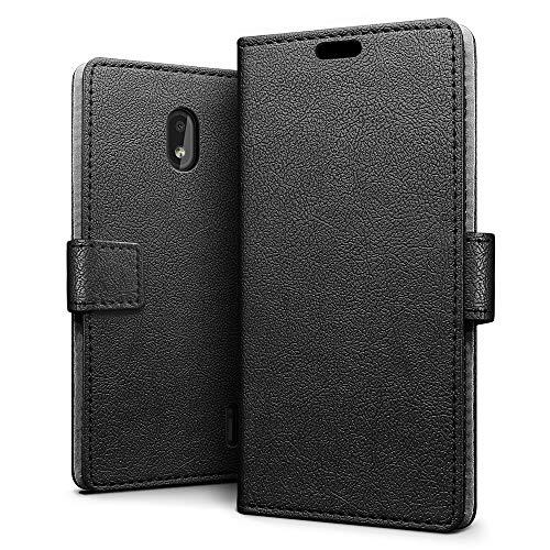 sleo Custodia per Nokia 2.2, [Premium Portafoglio Protettiva] Wallet Cover per Nokia 2.2, 2-Scheda Slot, [PU Pelle] Morbido Impermeabile Antipolvere Protezione - Nero