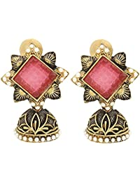 Flower Shaped Brass Golden And Black Jhumka With Non-precious Stone Work For Womens And Girls By The Lakh