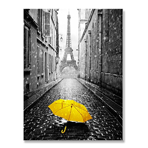 Genius Decor-Modern Schwarz Grau und Dekor Gelb, Paris Eiffelturm Rainy Day Gelb Regenschirm Leinwand Wand Kunstdruck Dekoration