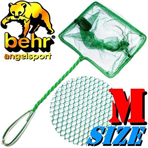 Behr Aquariumkescher Size M Mittel ca. 16X13X37cm Maschenweite ca. 2-3mm ideal für Aquariumfische, Fischbrut & Lebendfutter