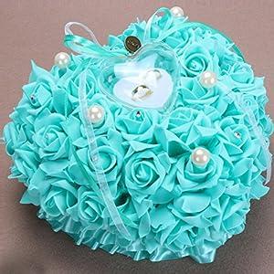 bpblgf Hochzeitsringkissen Ringkissen Hochzeit mit eleganten Satin floral Herz-Ring-Box 2