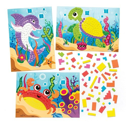Baker Ross Sea life Sticky Mosaic Picture Kits (Pack Of 4) For Kids To Make & Display