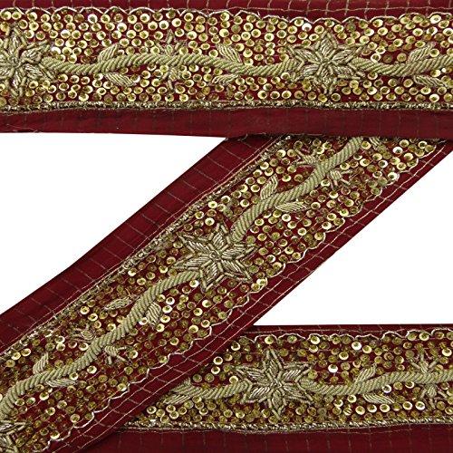 Antike indische Jahrgang-Border Maroon Sari-Material Hand wulstige Sewing 1YD Band -