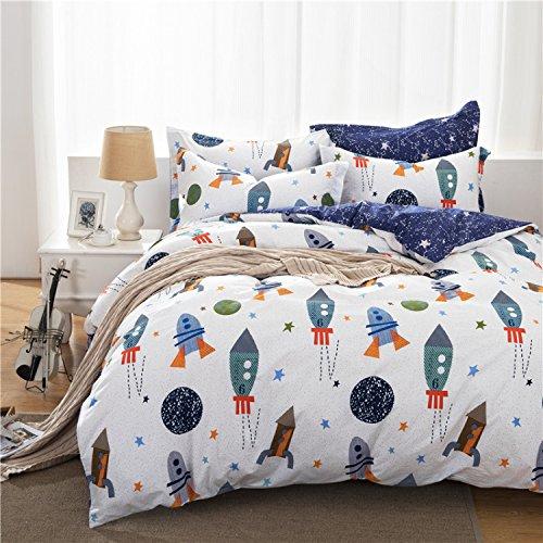 Brandream Galaxy Space Jungen Bettwäsche-Set Kinder Bettwäsche-Set Bettbezug Einzelbett Größe, baumwolle, Space Adventure, California King (Bettbezug-set California King)