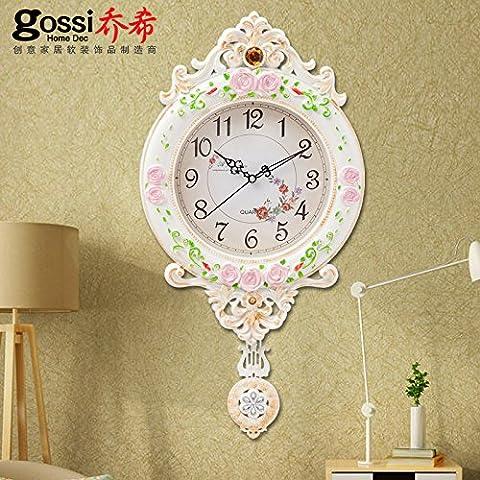 Mmao nuovo ufficio stanza cucina o Universal moderno decorazione di stile europeo elegante vintage Wall Hanging Clock ideale per Housewarming regalo, classic ivory white, 20 inches - Ivory Pearl Carta
