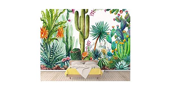Gudojk Wandbild Fototapete Tropical Rainforest Pflanze Kaktus Wohnzimmer Nachttisch Hintergrund Tapete Für Wände 3 D 100 X 150 Cm 39 X 59 Inch Küche Haushalt