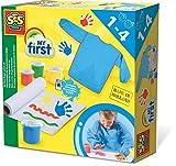 SES Creative 14417 Azul, Verde, Rojo, Amarillo Pintura de Dedos Lavable - Pintura Lavable para Pintar con Dedos (Assorted Colours, 4 Pieza(s), Azul, Verde, Rojo, Amarillo, 12 Mes(es), 4 año(s), Caja)